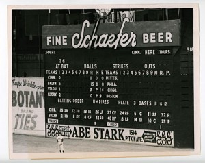 Abe Stark's sign below the scoreboard at Ebbets Field.