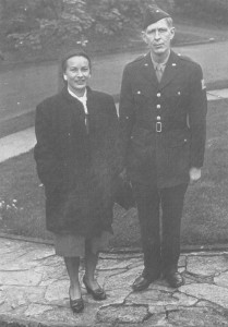 In 1945, Auden was recruited by the U.S. Army's Strategic Bombing Survey to travel to Germany and collect stories from citizens to assess the conditions of postwar Germany. He is pictured in uniform with Tania Stern, to whom The Sea and the Mirror is dedicated (along with her husband James).