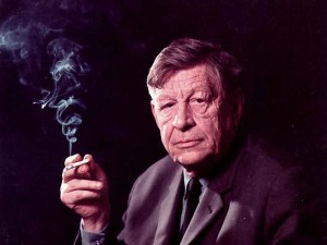 Auden, later in life, cigarette in hand.