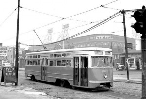 The Dodgers get their name from the trolley cars of Brooklyn that pedestrians were said to dodge in order to walk the streets. The team was originally named the Trolley Dodgers.